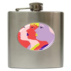 Three Beautiful Face Hip Flask (6 Oz) by AnjaniArt