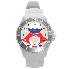 Woman Round Plastic Sport Watch (l) by AnjaniArt
