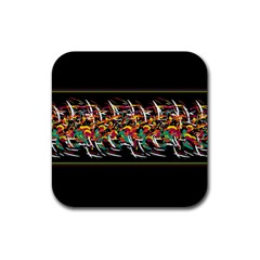 Colorful Barbwire  Rubber Coaster (square)  by Valentinaart