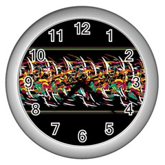Colorful Barbwire  Wall Clocks (silver)  by Valentinaart