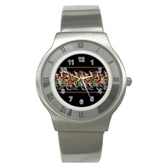 Colorful Barbwire  Stainless Steel Watch by Valentinaart