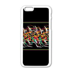 Colorful Barbwire  Apple Iphone 6/6s White Enamel Case by Valentinaart