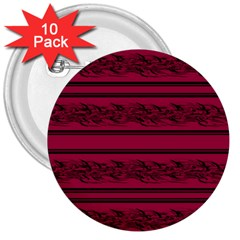 Red Barbwire Pattern 3  Buttons (10 Pack)  by Valentinaart