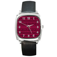 Red Barbwire Pattern Square Metal Watch by Valentinaart