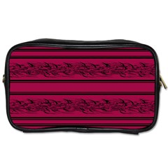 Red Barbwire Pattern Toiletries Bags by Valentinaart