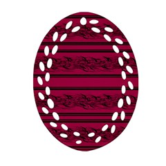 Red Barbwire Pattern Oval Filigree Ornament (2 Side)  by Valentinaart