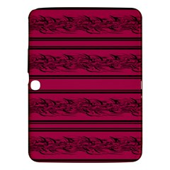 Red Barbwire Pattern Samsung Galaxy Tab 3 (10 1 ) P5200 Hardshell Case  by Valentinaart