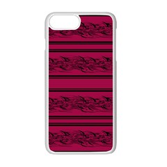 Red Barbwire Pattern Apple Iphone 7 Plus White Seamless Case by Valentinaart