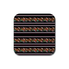 Colorful Barbwire Rubber Square Coaster (4 Pack)  by Valentinaart