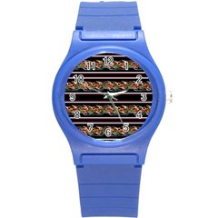 Colorful Barbwire Round Plastic Sport Watch (s) by Valentinaart