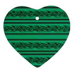 Green Barbwire Ornament (heart)  by Valentinaart