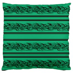 Green Barbwire Large Cushion Case (two Sides) by Valentinaart