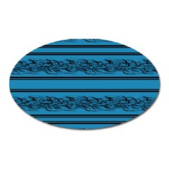 Blue Barbwire Oval Magnet