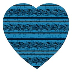 Blue Barbwire Jigsaw Puzzle (heart)