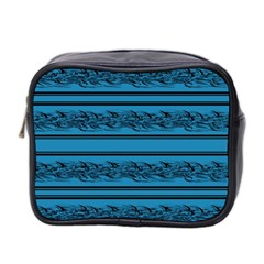 Blue Barbwire Mini Toiletries Bag 2 Side by Valentinaart
