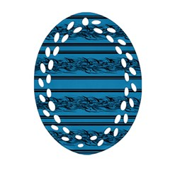 Blue Barbwire Oval Filigree Ornament (2 Side)  by Valentinaart
