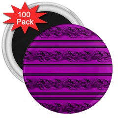 Magenta Barbwire 3  Magnets (100 Pack) by Valentinaart
