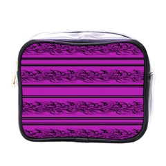 Magenta Barbwire Mini Toiletries Bags by Valentinaart