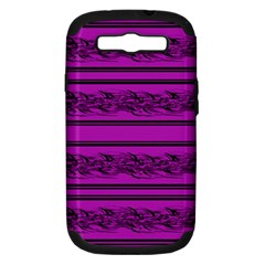 Magenta Barbwire Samsung Galaxy S Iii Hardshell Case (pc+silicone) by Valentinaart