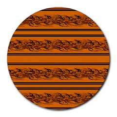 Orange Barbwire Pattern Round Mousepads by Valentinaart