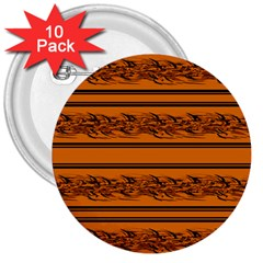 Orange Barbwire Pattern 3  Buttons (10 Pack)  by Valentinaart