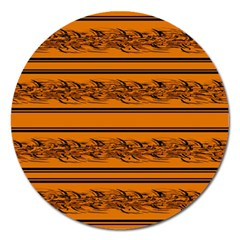 Orange Barbwire Pattern Magnet 5  (round) by Valentinaart