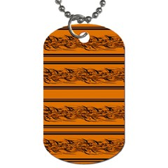 Orange Barbwire Pattern Dog Tag (two Sides) by Valentinaart