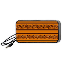Orange Barbwire Pattern Portable Speaker (black)  by Valentinaart