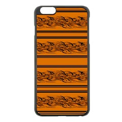 Orange Barbwire Pattern Apple Iphone 6 Plus/6s Plus Black Enamel Case by Valentinaart
