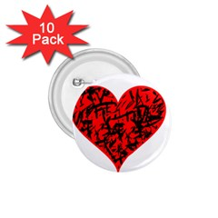 Valentine Hart 1 75  Buttons (10 Pack)