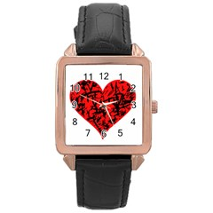Valentine Hart Rose Gold Leather Watch  by Valentinaart
