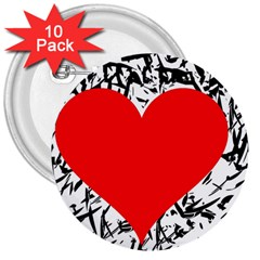 Red Valentine 2 3  Buttons (10 Pack)  by Valentinaart