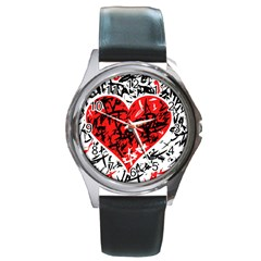 Red Hart   Graffiti Style Round Metal Watch by Valentinaart