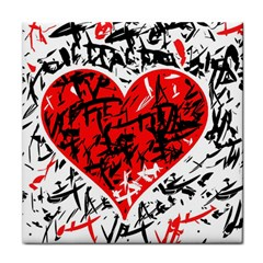 Red Hart   Graffiti Style Tile Coasters by Valentinaart