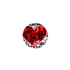 Red Hart   Graffiti Style 1  Mini Magnets by Valentinaart