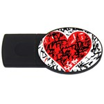Red hart - graffiti style USB Flash Drive Oval (4 GB)  Front