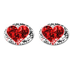 Red Hart   Graffiti Style Cufflinks (oval) by Valentinaart