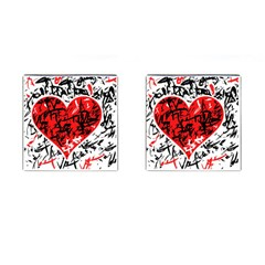 Red Hart   Graffiti Style Cufflinks (square) by Valentinaart