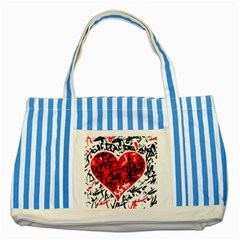Red Hart   Graffiti Style Striped Blue Tote Bag by Valentinaart
