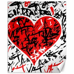 Red Hart   Graffiti Style Canvas 16  X 20   by Valentinaart
