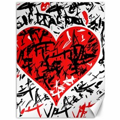 Red Hart   Graffiti Style Canvas 36  X 48   by Valentinaart
