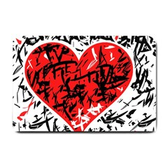 Red Hart   Graffiti Style Small Doormat  by Valentinaart