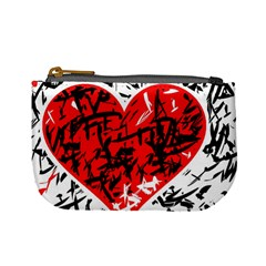 Red Hart   Graffiti Style Mini Coin Purses by Valentinaart