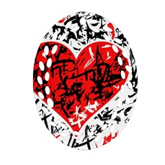 Red Hart   Graffiti Style Ornament (oval Filigree)  by Valentinaart