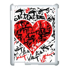Red Hart   Graffiti Style Apple Ipad 3/4 Case (white) by Valentinaart