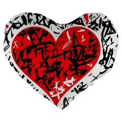 Red Hart   Graffiti Style Large 19  Premium Heart Shape Cushions by Valentinaart