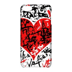 Red Hart   Graffiti Style Apple Ipod Touch 5 Hardshell Case With Stand by Valentinaart