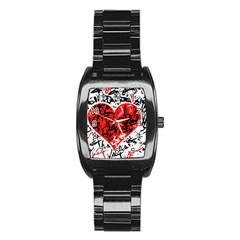 Red Hart   Graffiti Style Stainless Steel Barrel Watch by Valentinaart