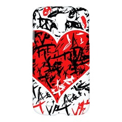 Red Hart   Graffiti Style Samsung Galaxy S4 I9500/i9505 Hardshell Case by Valentinaart