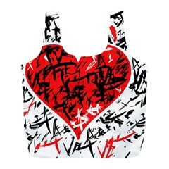 Red Hart   Graffiti Style Full Print Recycle Bags (l)  by Valentinaart